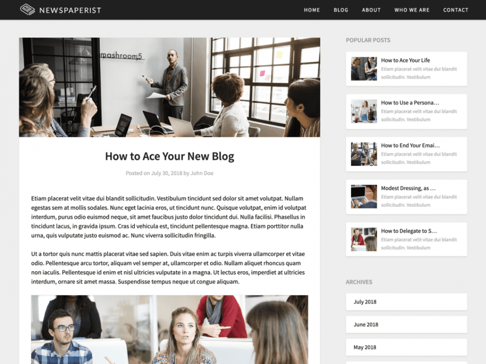 Free Newspaperist WordPress theme