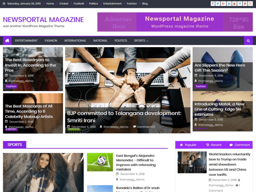 Free Newsportal Magazine WordPress theme