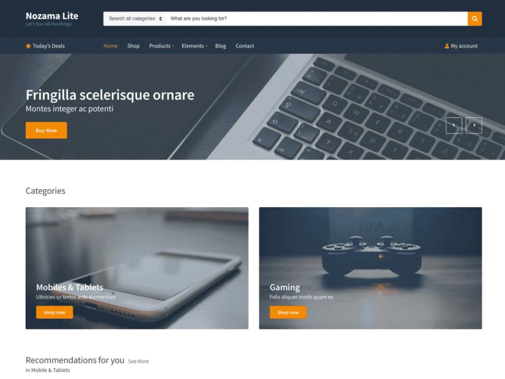 Free Nozama Lite WordPress theme