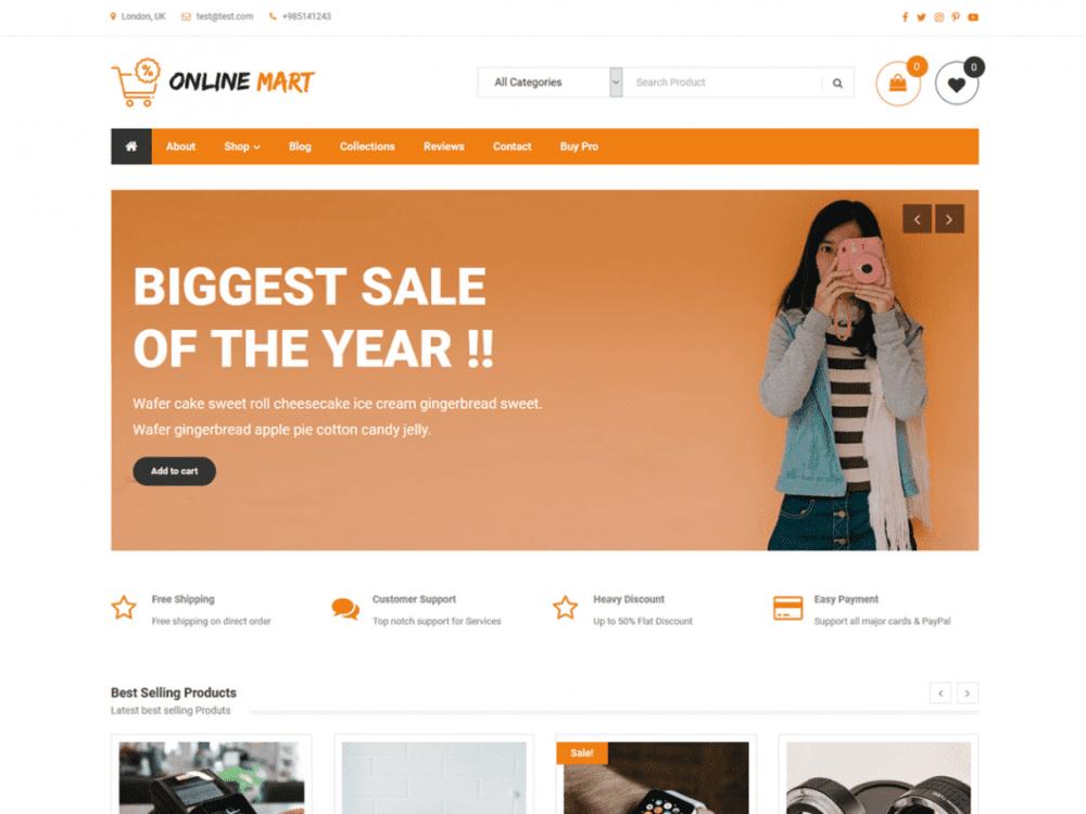 Free Online Mart WordPress theme