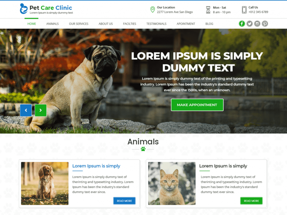 Free Pet Care Clinic WordPress theme