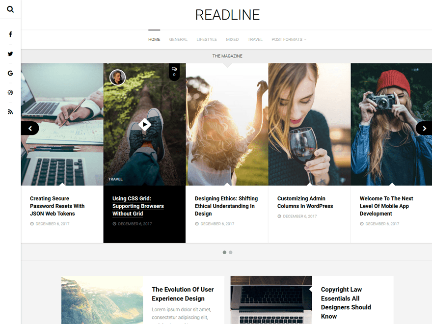 Free Readline WordPress theme