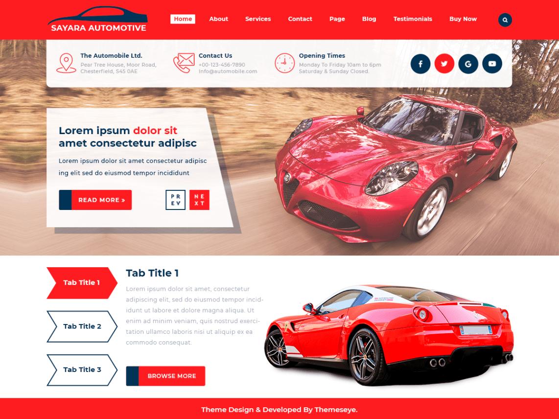 Download Free Sayara Automotive WordPress theme - JustFreeWPThemes
