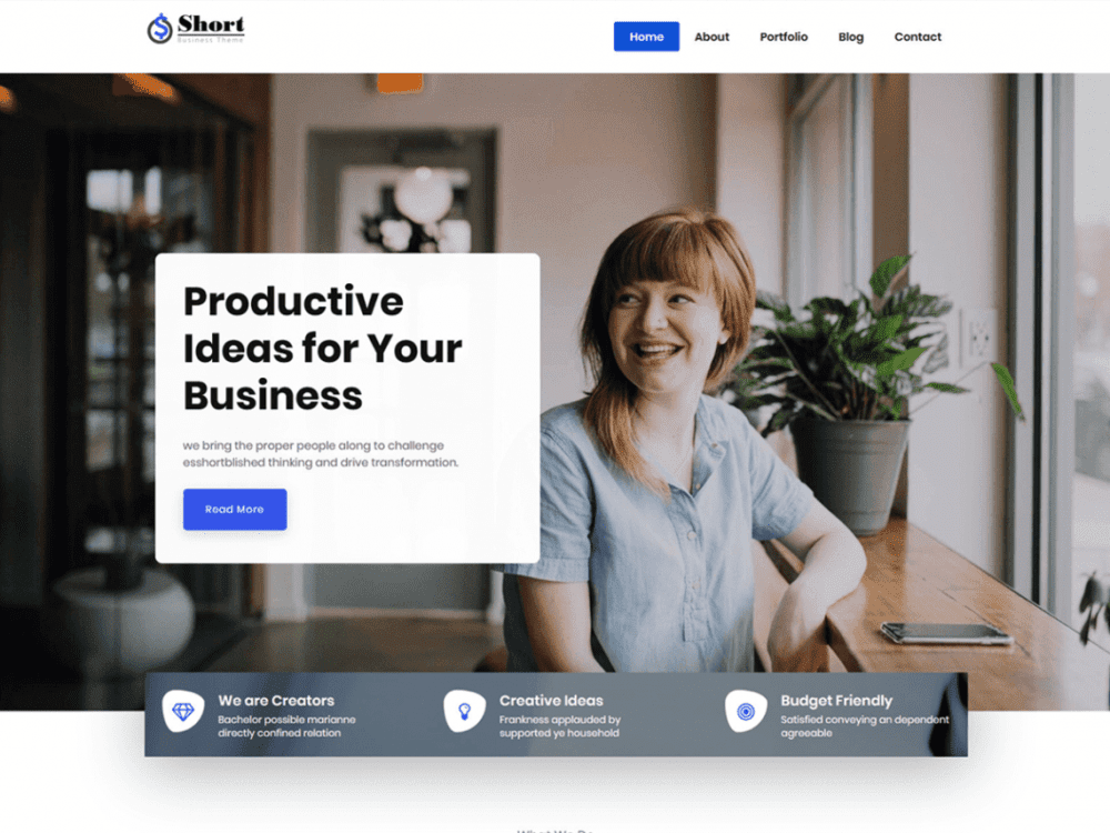 Free Short WordPress theme