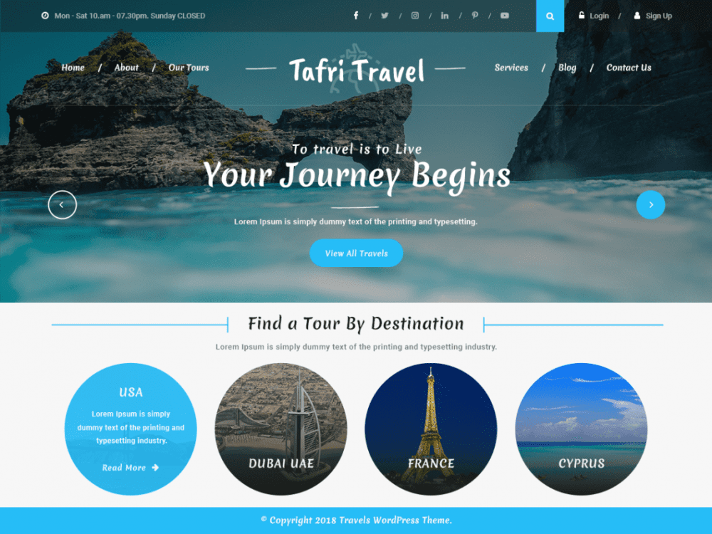 Free Tafri Travel WordPress theme