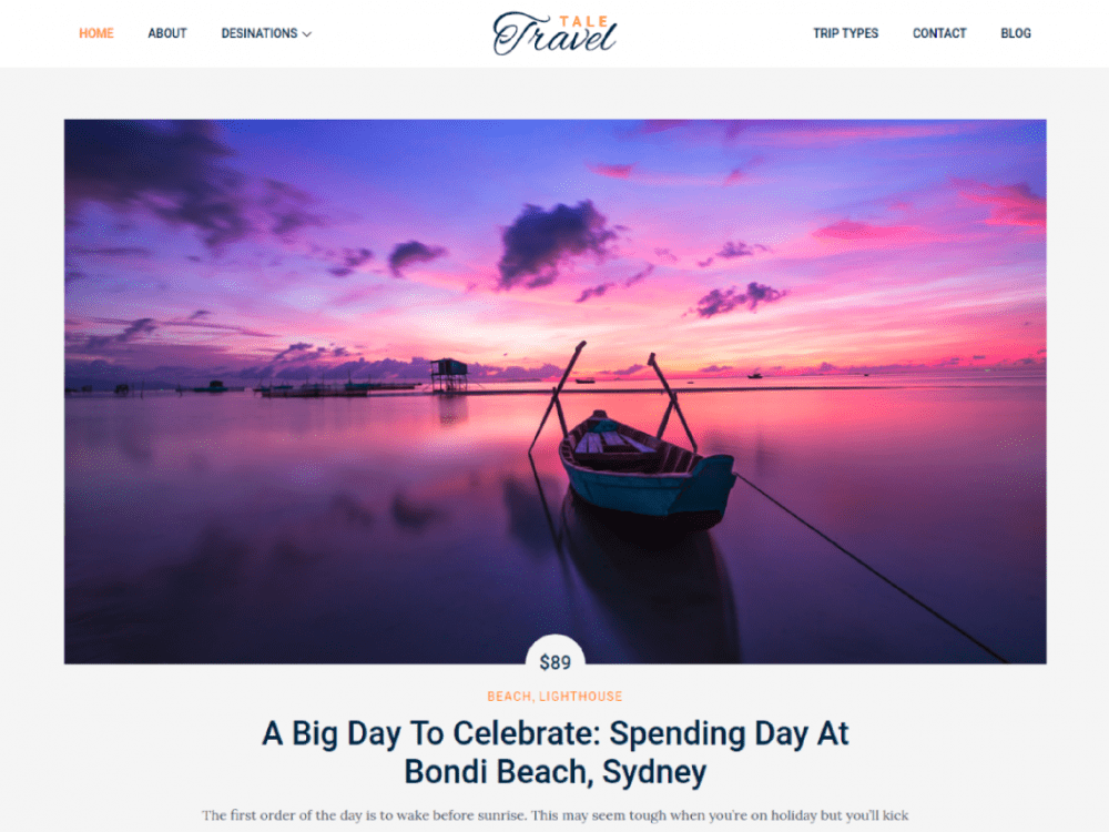 Free Tale Travel WordPress theme