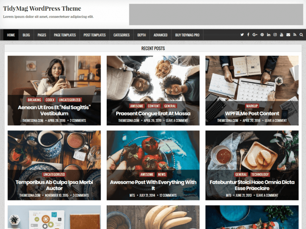 Free TidyMag WordPress theme
