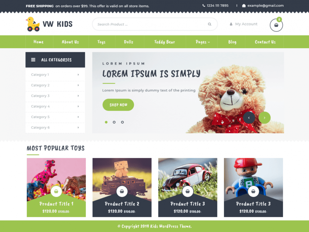 Free VW Kids WordPress theme