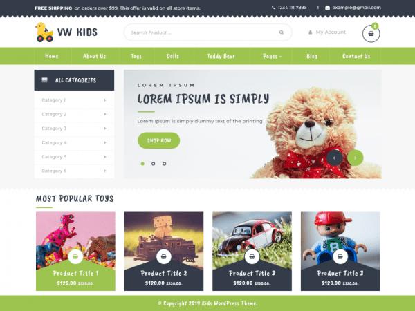 Free VW Kids WordPress theme