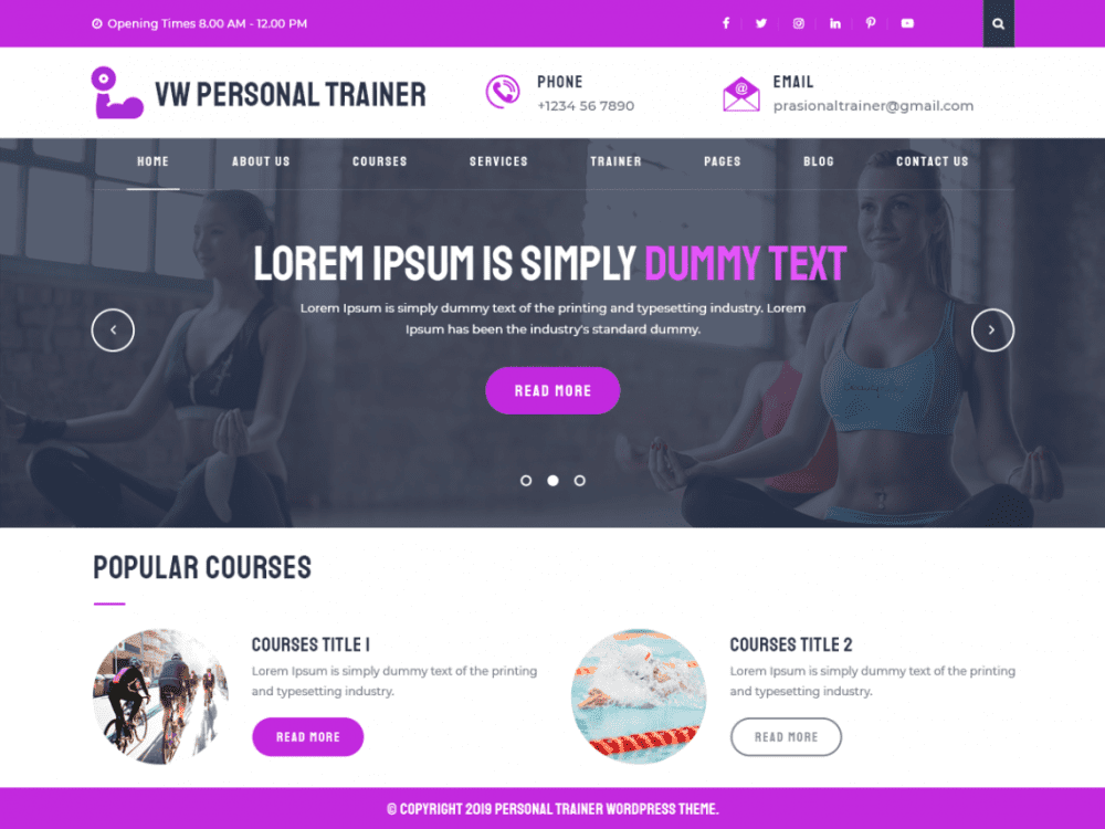 Free VW Personal Trainer WordPress theme