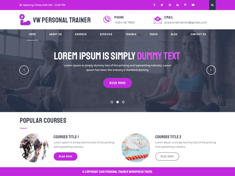 Free VW Personal Trainer WordPress theme
