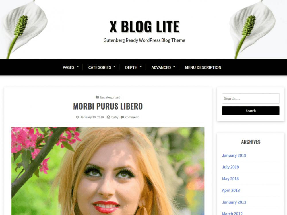 Free X Blog Lite WordPress theme