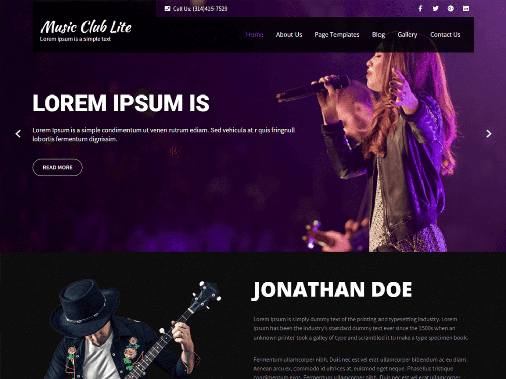 Free music club lite wordpress theme