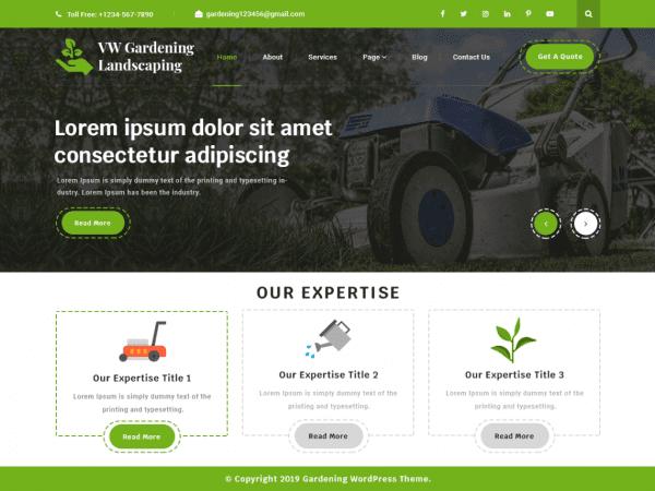 Free vw gardening landscaping wordpress theme