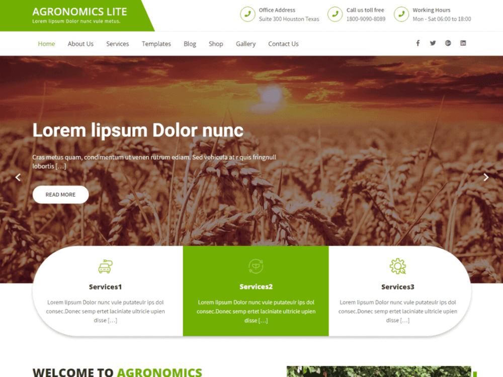 Free Agronomics Lite WordPress theme