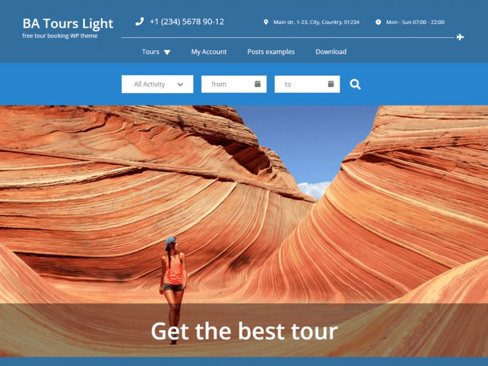 Free BA Tours light WordPress theme