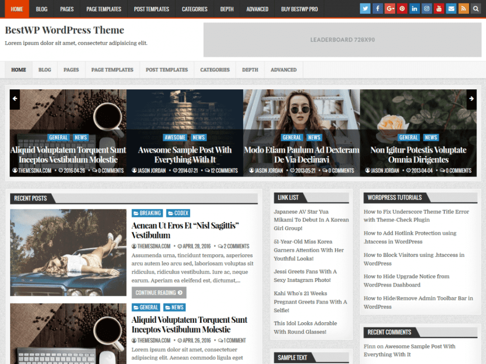Free BestWP WordPress theme