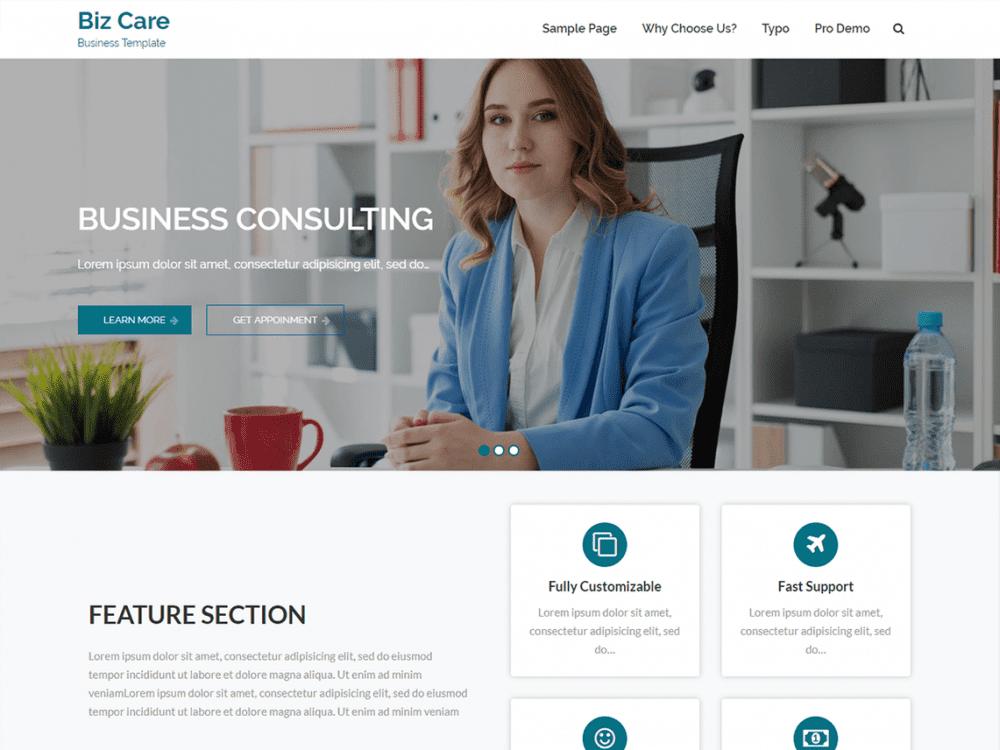 Free BizCare WordPress theme