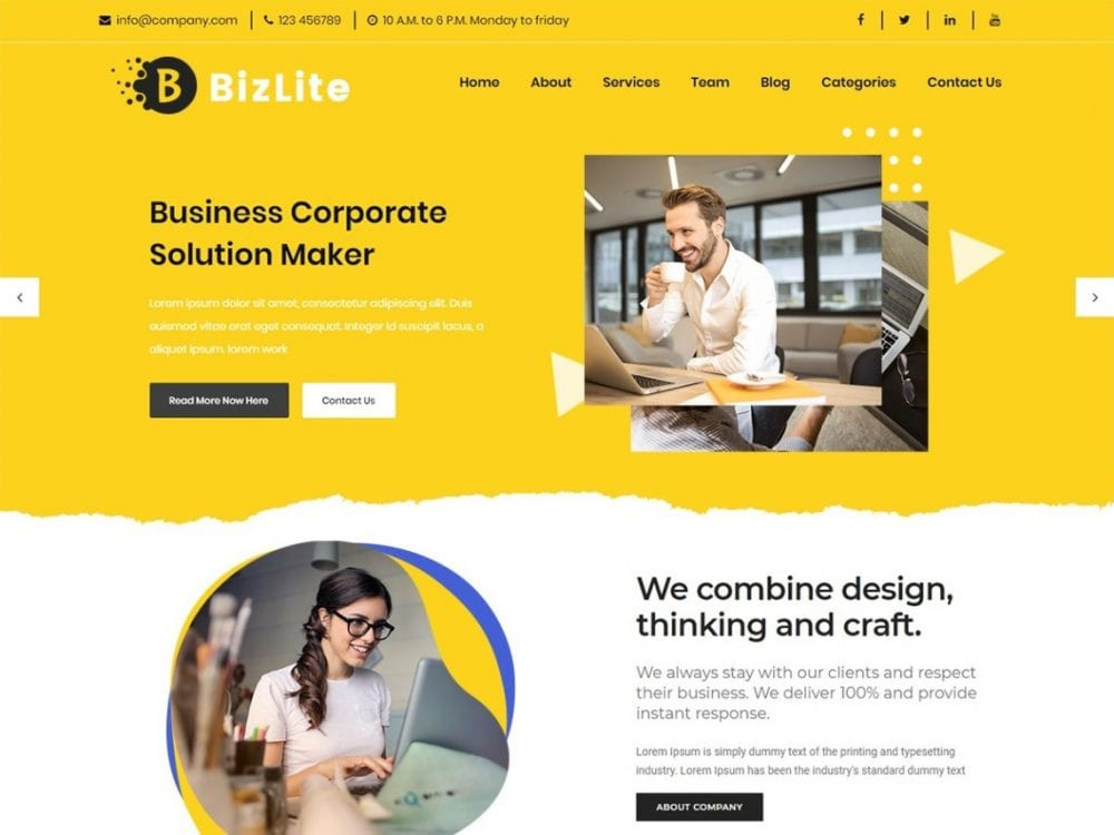 Free Bizlite Business WordPress theme