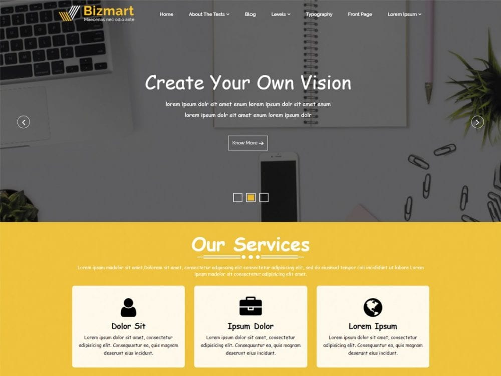 Free Bizmart WordPress theme