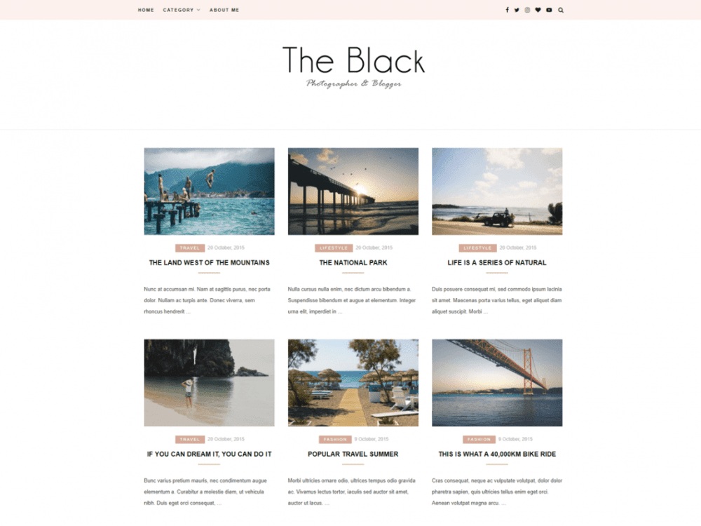 Free Blacklite Gird WordPress theme