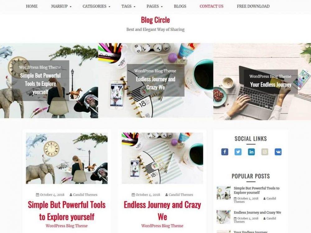 Free Blog Circle WordPress theme