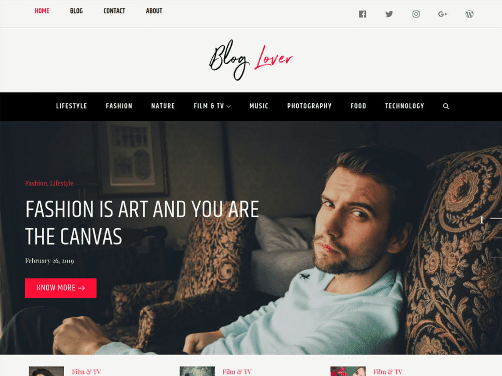 Free Blog Lover WordPress theme