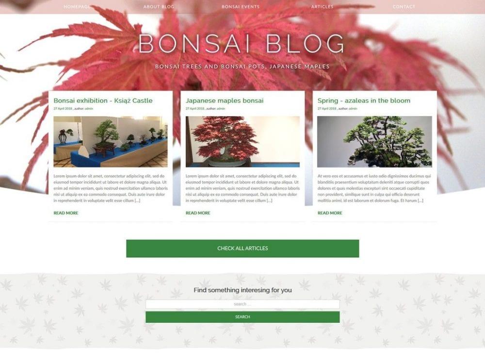 Free Bonsai blog WordPress theme