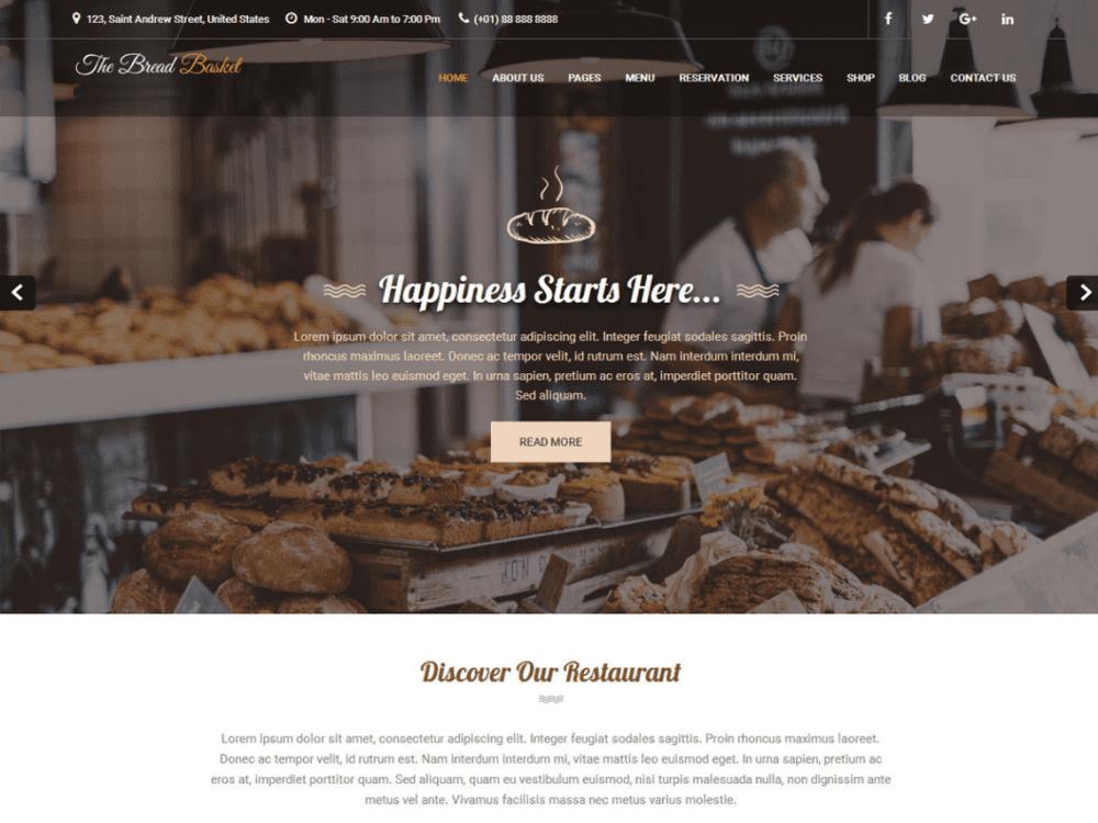 Free Bread and Cake WordPress theme