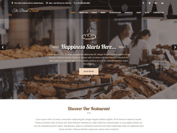 Free Bread and Cake WordPress theme