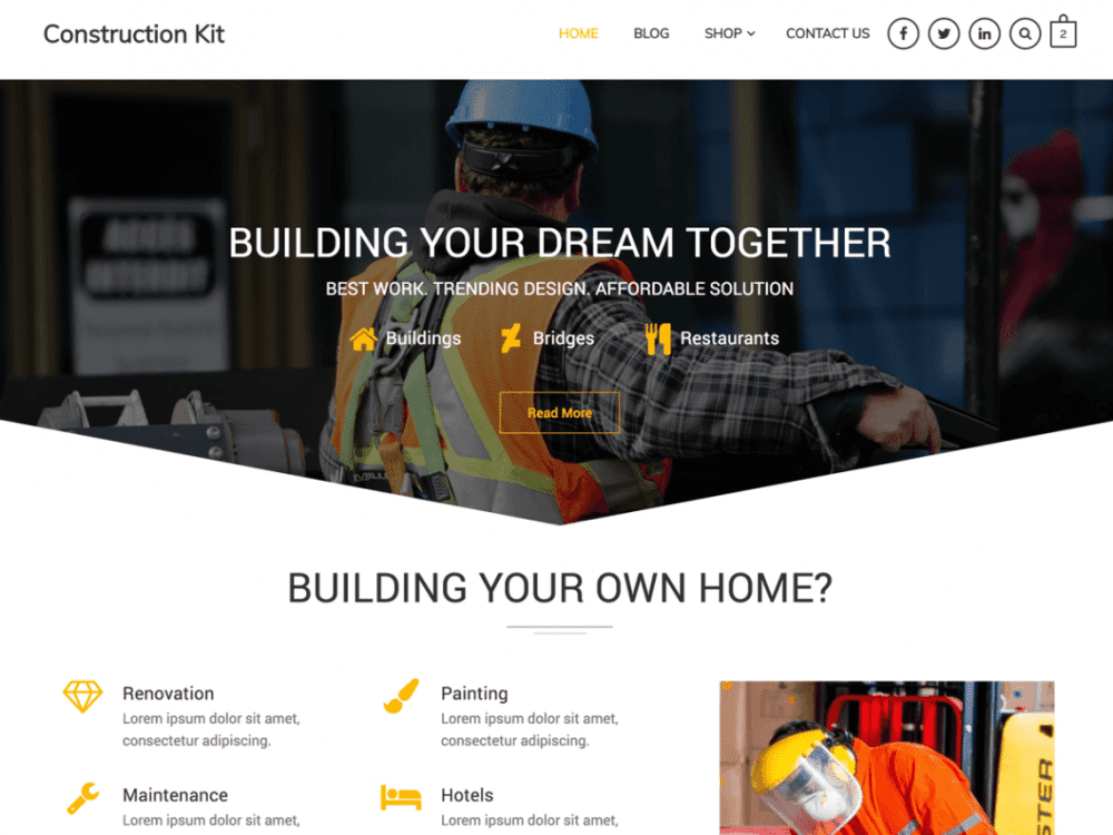 Free Construction Kit WordPress theme