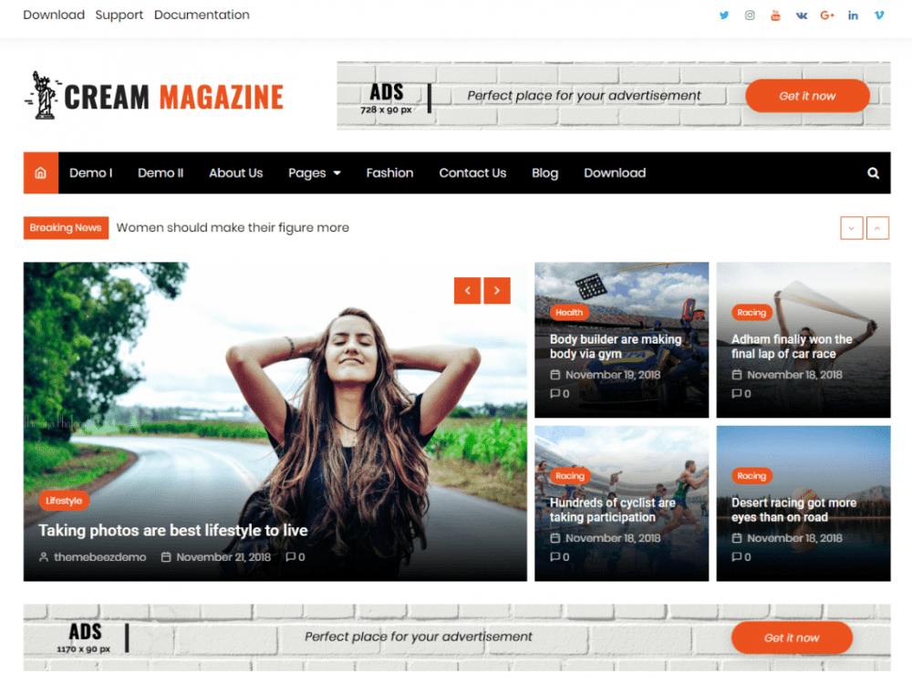 Free Cream Magazine WordPress theme