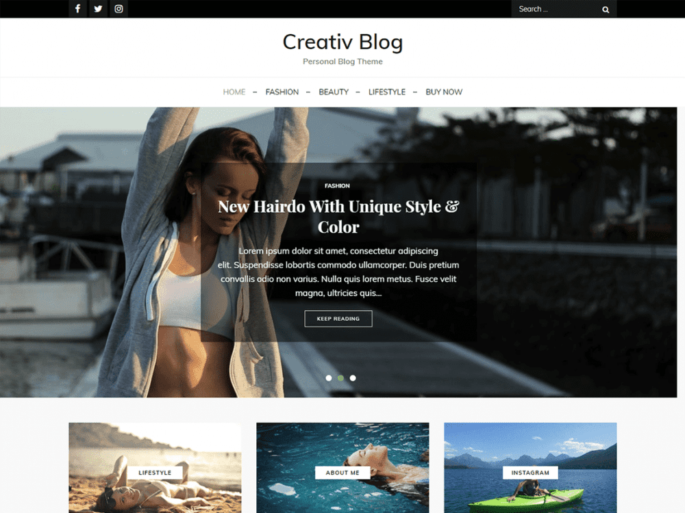 Free Creativ Blog WordPress theme