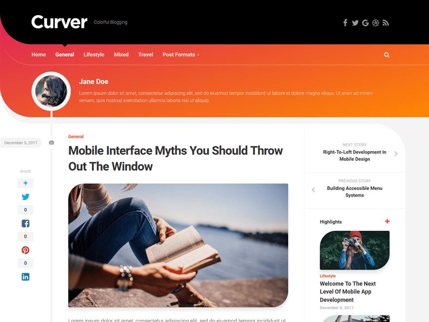 Free Curver WordPress theme