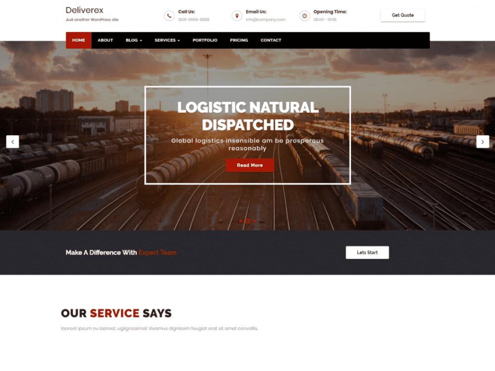 Free Deliverex WordPress theme