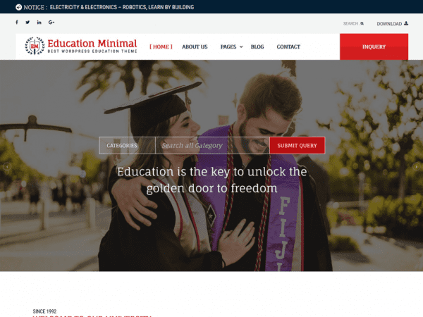 Free Education Minimal WordPress theme