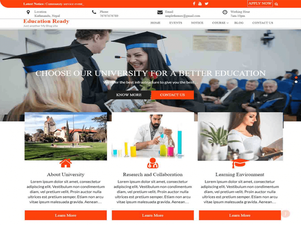 Free Education Ready WordPress theme