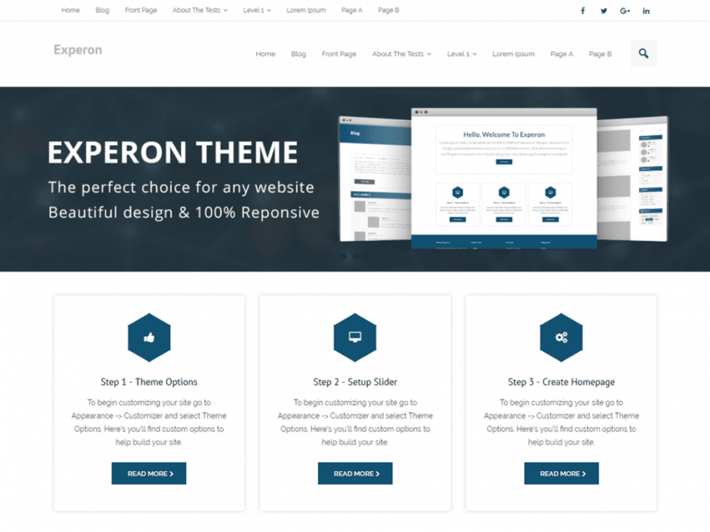Free Experon Business WordPress theme