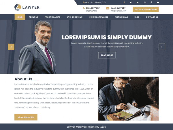 Free Expert Lawyer WordPress theme