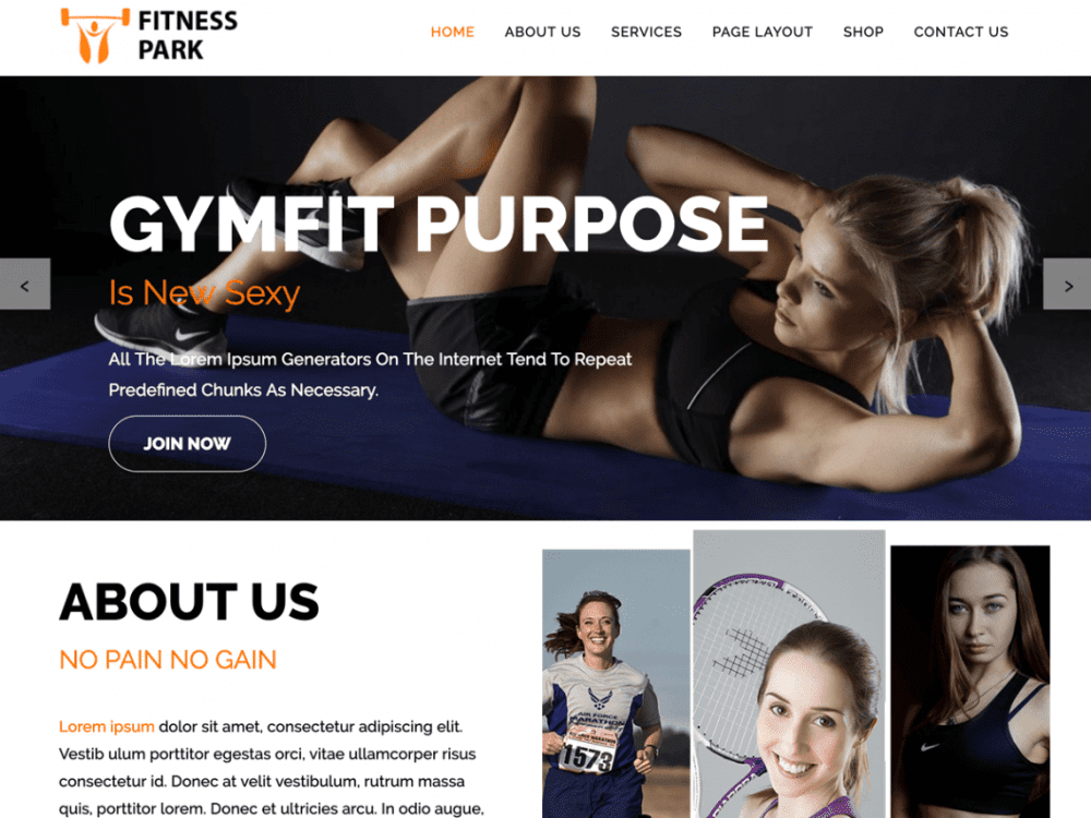 Free Fitness Park WordPress theme