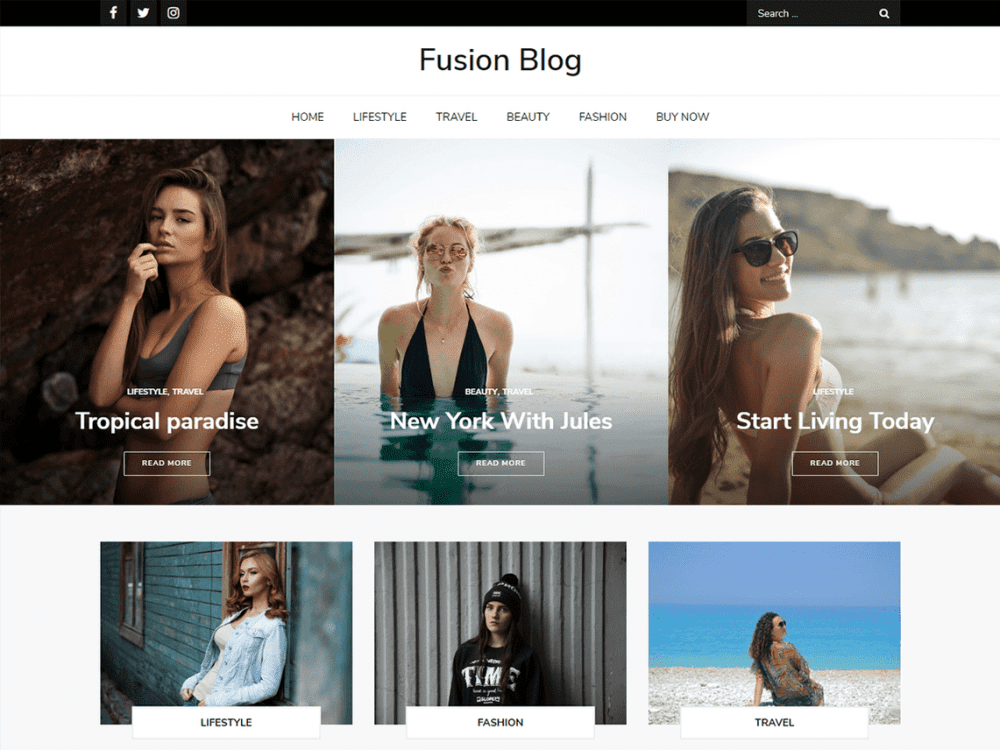 Free Fusion Blog WordPress theme
