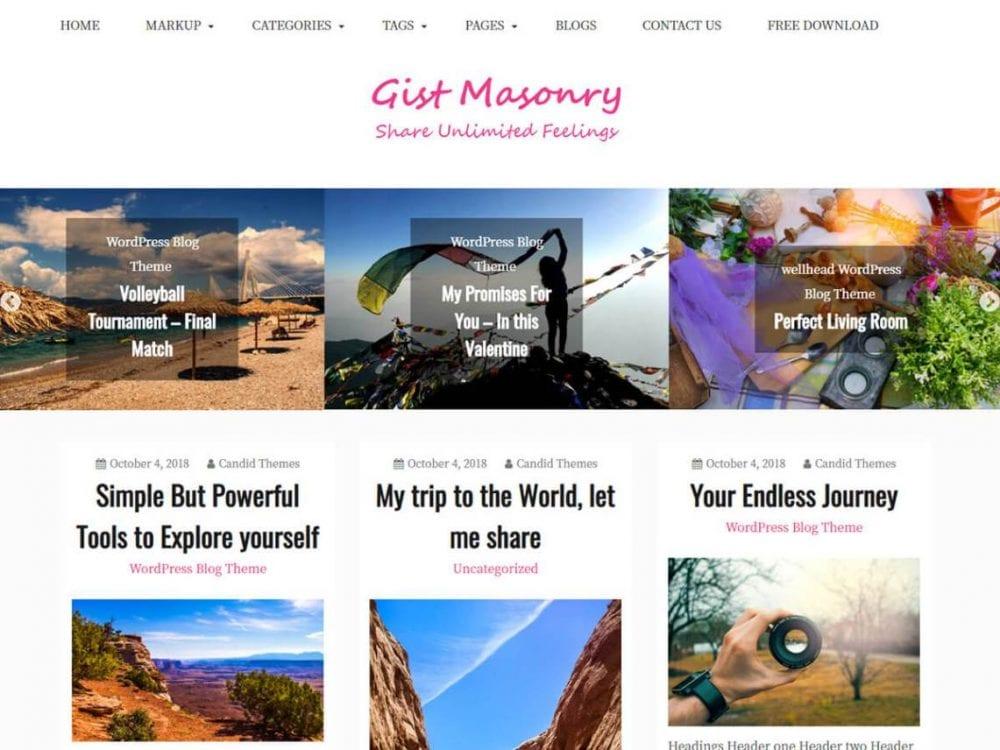 Free Gist Masonry WordPress theme