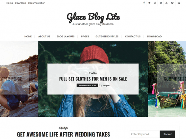 Free Glaze Blog Lite WordPress theme
