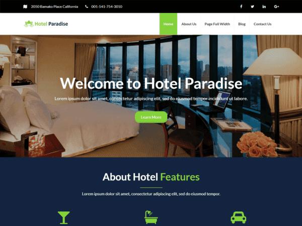 Free Hotel Paradise WordPress theme
