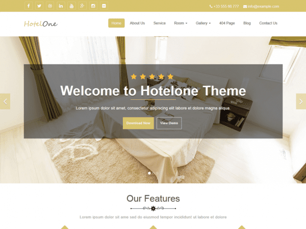 Free Hotelone WordPress theme