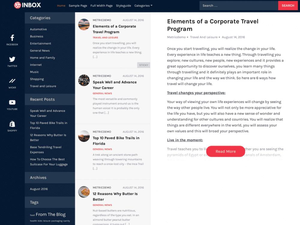 Free Inbox WordPress theme