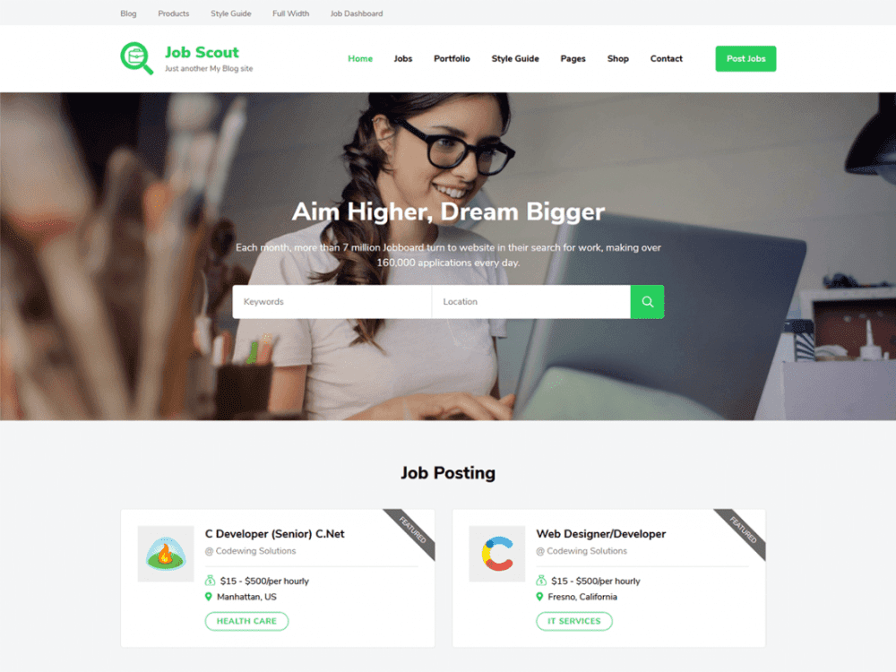 Free JobScout WordPress theme
