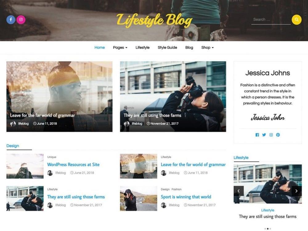 Free Lifestyle Blog WordPress theme