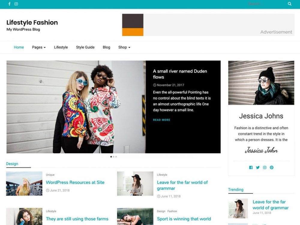 Free Lifestyle Fashion WordPress theme