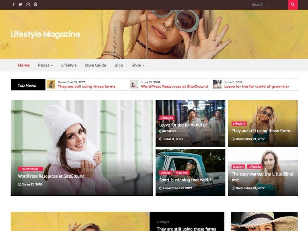 Free Lifestyle Magazine WordPress theme